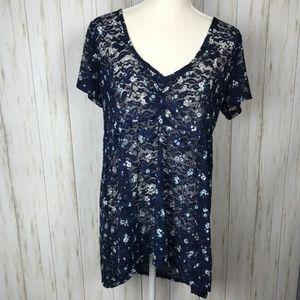Torrid Navy Floral Lace Babydol Top 0X